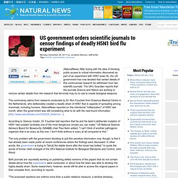 US government orders scientific journals to censor findings of deadly H5N1 bird flu experiment