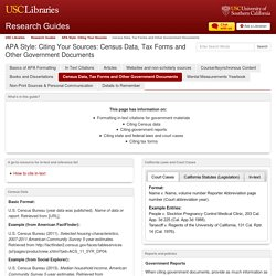 Census Data, Tax Forms and Other Government Documents - APA Style: Citing Your Sources - Research Guides at University of Southern California