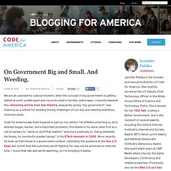 On Government Big and Small. And Weeding. » Code for America
