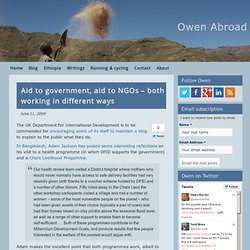 Aid to government, aid to NGOs – both working in different ways