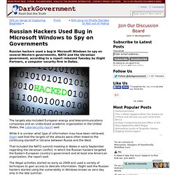 Russian Hackers Used Bug in Microsoft Windows to Spy on Governments