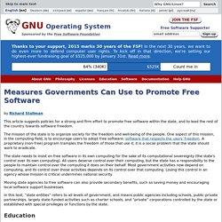 Mesures à la portée des gouvernements pour promouvoir le logiciel libre