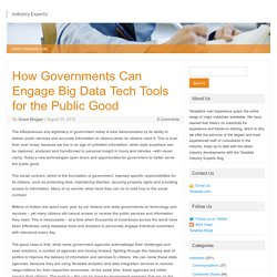 How Governments Can Engage Big Data Tech Tools for the Public Good - Industry...