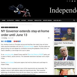 NY Governor extends stay-at-home order until June 13