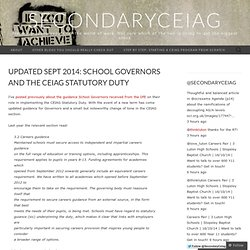 Updated Sept 2014: School Governors and the CEIAG Statutory Duty
