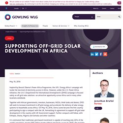 Gowling WLG - Supporting off-grid solar development in Africa