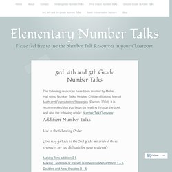 3rd, 4th and 5th Grade Number Talks – Elementary Number Talks