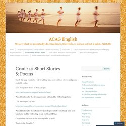 Grade 10 Short Stories & Poems