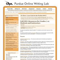 Purdue OWL website
