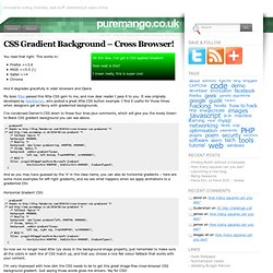 CSS Gradient Background – Cross Browser! « puremango.co.uk