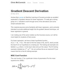 Gradient Descent Derivation · Chris McCormick