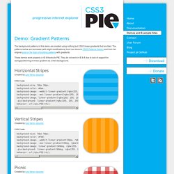Demo: Gradient Patterns – CSS3 PIE: CSS3 decorations for IE