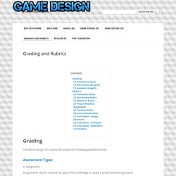 Grading and Rubrics - Ms. Bailey's Game Design Class