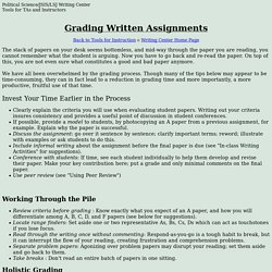 Grading Written Assignments