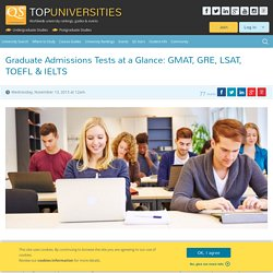 Graduate Admissions Tests at a Glance: GMAT, GRE, LSAT, TOEFL & IELTS