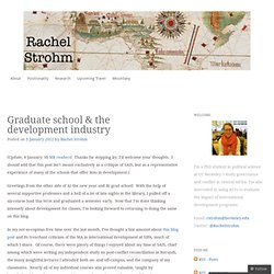 Graduate school & the development industry « Rachel Strohm