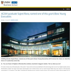 AGSM graduate Sujeet Rana, named one of this year's Boss Young Executives