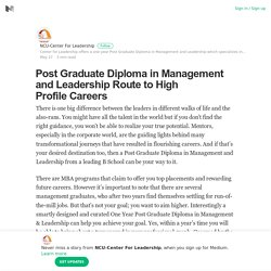 Post Graduate Diploma in Management and Leadership Route to High Profile Careers