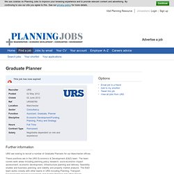 Graduate Planner Job Vacancy in Manchester