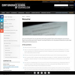 Graduate School of Journalism Resume - CUNY Graduate School of Journalism