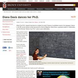 "Math graduate student Diana Davis among ""Dance your Ph.D."" winners"