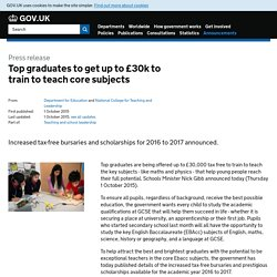 Top graduates to get up to £30k to train to teach core subjects