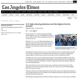 U.S. high school graduation rate hits highest level in decades