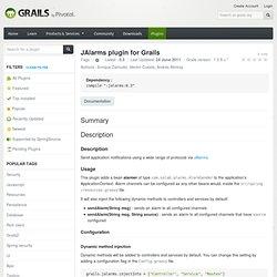 Plugin - JAlarms plugin for Grails
