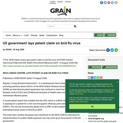 US government lays patent claim on bird flu virus