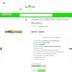 1 Gram 1:1 CBD/THC Vape Cart - Blueberry - Bcweedpen.com