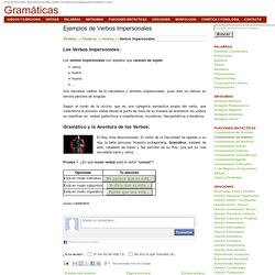 Gramáticas: Ejemplos de Verbos Impersonales