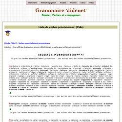 Liste des verbes pronominaux