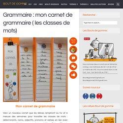 Grammaire : mon carnet de grammaire ( les classes de mots)