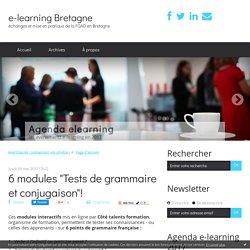 """6 modules """"Tests de grammaire et conjugaison""""! - e-learning Bretagne"""
