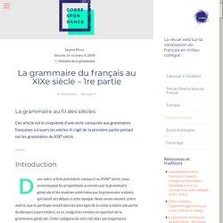La grammaire du français au XIXe siècle – 1re partie