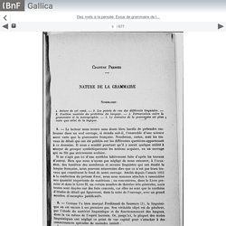 Des mots à la pensée. Essai de grammaire de l... - Gallica mobile website