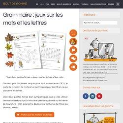 Grammaire : jeux sur les mots et les lettres