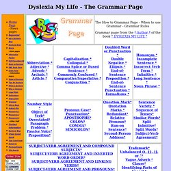 Garammar Page - What grammar to use when.