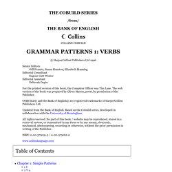 Grammar Patterns 1: Verbs