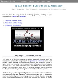 Grammar of Sentences: Parse Trees, X-Bar Theory, Ambiguity - online lessons