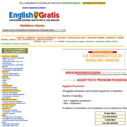 Grammatica di English Gratis: Aggettivi e pronomi possessivi