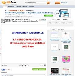 GRAMMATICA VALENZIALE LA VERBO-DIPENDENZA: Il verbo come vertice sintattico...