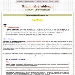 Grammaire AIDENET : Analyse grammaticale, généralités et définitions