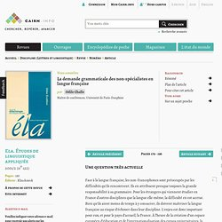 La demande grammaticale des non-spécialistes en langue française