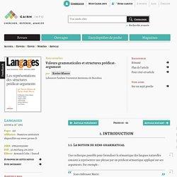 Valeurs grammaticales et structures prédicat-argument