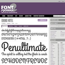 Free Font Grand Hotel by Astigmatic