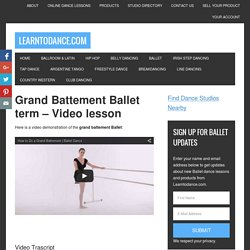 Grand Battement in Ballet - Grand Battement Ballet move