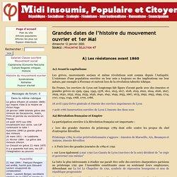 Grandes dates de l'histoire du mouvement ouvrier et 1er Mai