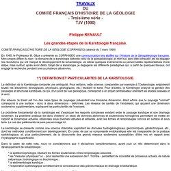 Grandes étapes de la Karstologie française.