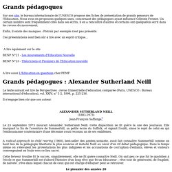 Grands pédagoques : Alexander Sutherland Neill